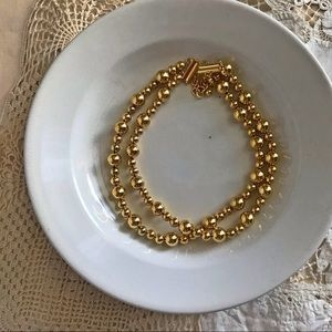 Jewelry - Double strand gold bead necklace